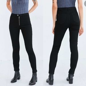 BDG Twig Exposed Zip High-Rise Skinny Black Jeans